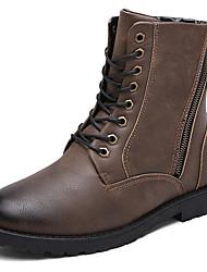 Men's Boots Spring Fall Winter PU Outdoor Casual Flat Heel Buckle Studded Black Khaki