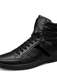 Черный-Для мужчин-Повседневный-КожаУдобная обувь-Ботинки