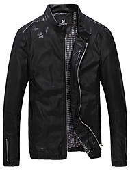Men's Casual/Daily Simple Leather JacketsSolid Stand Long Sleeve Fall / Winter PU Medium