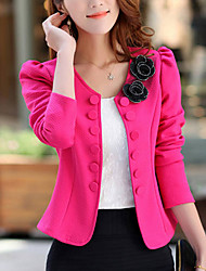 Women's Going out / Work Punk & Gothic / Sophisticated JacketsSolid Notch Lapel Long Sleeve Fall / Winter Pink