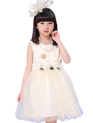 Girl's Casual/Daily Solid Dress,Organza Summer Short Sleeve