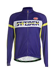 Esportivo Camisa para Ciclismo Homens Manga Comprida MotoRespirável / Mantenha Quente / Zíper Frontal / Bolso Traseiro / Tecido Ultra