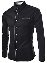 Men's Spring Fall Casual Daily Solid Color Stand Collar Long Sleeve Cotton Single Breasted Shirt