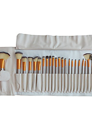 24 Makeup Brushes Set Nylon Hair Professional / Portable Wood Face/Eye / Lip White