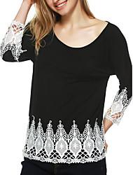 Tee-shirt Femme,Couleur Pleine Sortie / Décontracté / Quotidien simple Toutes les Saisons Manches Longues Col Arrondi Noir Coton Moyen