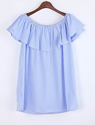 Women's Off The Shoulder|Ruffle|Fine Stripe Casual/Daily Simple Loose Dress,Striped Boat Neck Mini Short Sleeve Blue Others Summer
