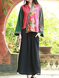 Feminino Camisa Casual Chinoiserie Primavera,Floral / Patchwork Vermelho Linho Decote V Manga Longa Fina