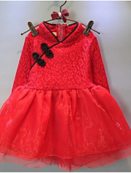 Girl's Going out Solid DressCotton Spring / Fall Red