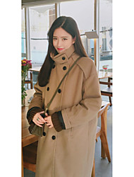 Women's Casual/Daily Simple CoatSolid Stand Long Sleeve Winter