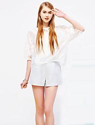 Mulheres Calças Simples Shorts Raiom / Poliéster Sem Elasticidade Mulheres