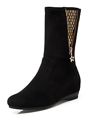 Women's Zipper Round Closed Toe Kitten Heels Mid Top Boots