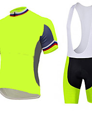Fluo yellow Cycling Jersey with Bib Shorts Men's Short Sleeve Bike Breathable / Quick Dry  / Front Zipper / 3D coolmax gel pad