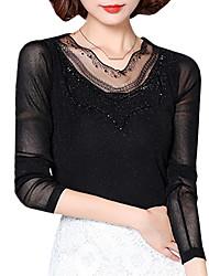 Damen Solide Einfach Übergröße T-shirt,V-Ausschnitt Frühling / Herbst Langarm Schwarz Nylon / Elasthan Mittel