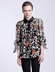 CARBAMMI  Women's Going out Chinoiserie Fall BlouseAnimal Print Shirt Collar  Sleeve Black Silk Opaque