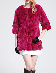 Women's Going out / Casual/Daily Simple Fur Coat,Solid Round Neck ½ Length Sleeve Fall / Winter Multi-color Rabbit Fur Medium