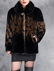 Women's Plus Size / Casual/Daily Simple Fur Coat,Print Long Sleeve Brown / Yellow / Purple Faux Fur