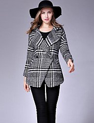 Women's Formal / Work Punk & Gothic / Sophisticated CoatHoundstooth Notch Lapel Long Sleeve Fall / Winter Black