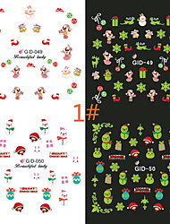 2PCS Luminous Nail Art Sticker Water Transfer Decals And Lovely Christmas Night Light Series Random Color