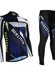 Men's Outdoor Cycling Bike Bicycle Long Sleeve Set /Night Refiective /Breathable/Wicking/Quick-Dry/ 3D Padded Full Zip