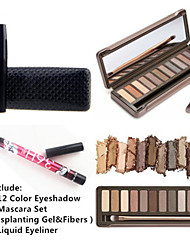 12 Colors Matte Crease Smoky Eyeshadow Palette&2PCS Waterproof Eye Lash Mascara Set&2X Waterproof Liquid Eyeliner