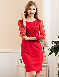 GATHER BEAUTY Women's Going out Cute Sheath DressEmbroidered Round Neck Above Knee  Sleeve Pink / Red Rayon / Polyester / Nylon / Spandex WinterMid