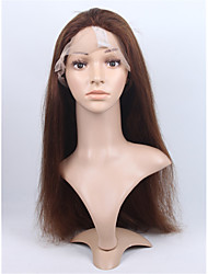Brazilian Virgin Human Hair 4# Medium Brown Color Full Lace & Lace Front  Natural Straight Wig With Baby Hair