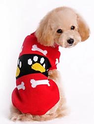 Gatos / Cães Súeters Vermelho / Rosa Roupas para Cães Inverno / Primavera/Outono Color Block Fofo / Natal / Ano Novo