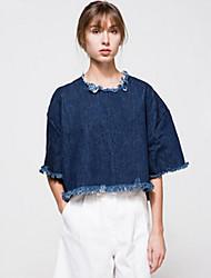 Damen Solide Street Schick Ausgehen / Lässig/Alltäglich T-shirt,Rundhalsausschnitt Herbst ½ Länge Ärmel Blau BaumwolleUndurchsichtig /