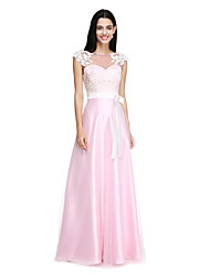 LAN TING BRIDE Floor-length Bateau Bridesmaid Dress - Elegant Sleeveless Tulle Stretch Satin