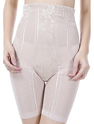 Women's High Waist Lace Jacquard Transparent Shaping Panties Nylon Toning Pants