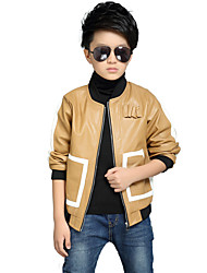 Boy's Popular Color Block / Patchwork Jacket & CoatPU Thick Bike Jacket