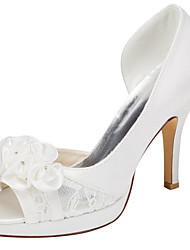 Women's Heels Spring / Summer Platform Stretch Satin Wedding / Party & Evening / Dress Stiletto Heel Crystal / Satin Flower Ivory Others