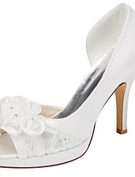 Damen-High Heels-Hochzeit Kleid Party & Festivität-Stretch - Satin-Stöckelabsatz Plateau-Plateau-Elfenbein