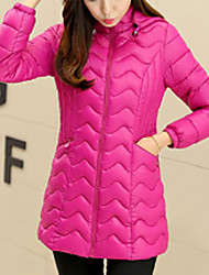 Hot Sale Women's Long Padded CoatSimple Casual/Daily Solid-Polyester Polyester Long Sleeve Hooded Pink / Red / Black