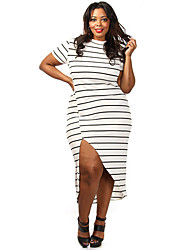 Women's Plus Size Stripe High Slit Maxi Dress