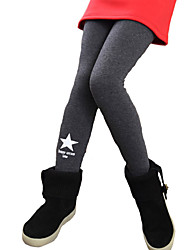 Girl's Casual/Daily Solid Leggings,Cotton / Spandex Spring / Fall Black / White