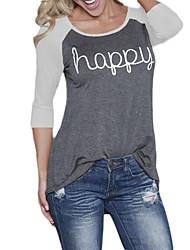 Damen Buchstabe Einfach Lässig/Alltäglich T-shirt,Rundhalsausschnitt Herbst / Winter Langarm Rot / Grau Polyester Undurchsichtig