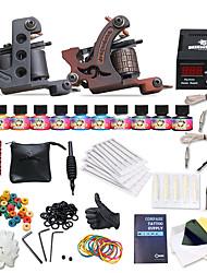 2 x Gusseisen-Tattoomaschine für Umrißlinien und Schattierung LCD-Stromversorgung5 x Tattoonadeln RL 3 / 5 x Tattoonadeln RL 5 / 5 x