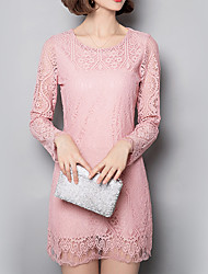Women's Plus Size / Going out / Casual/Daily Sexy / Simple / Cute Lace DressSolid / Embroidered Round Neck