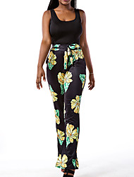 Women's Going out / Casual/Daily Simple Summer / Fall Set PantFloral / Check Strap Sleeveless Yellow Polyester