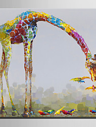 Mini Size E-HOME Oil painting Modern Giraffe Pure Hand Draw Frameless Decorative Painting