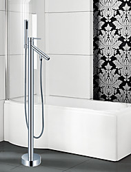 Contemporary / Modern Tub And Shower Waterfall / Widespread  / Floor Standing / Pullout Spray with