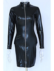 Women's Long Sleeve Leather Top And Skirt Fancy Dress