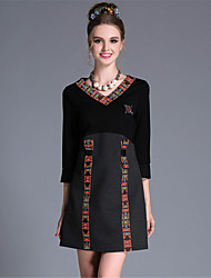 Women Clothing Plus Size Ethnic Vintage Bead Bow Patchwork Pleat Sleeve Party Daily Dress