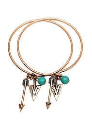 Vintage Bangle Bracelet with Arrow Turquoise Beads Triangle Pendants-Antique
