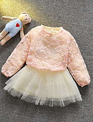 Girl's Casual/Daily Solid Clothing Set,Cotton Spring / Fall Pink / Red