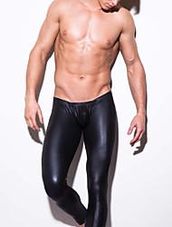 Homme Sexy Couleur Pleine Sous-vêtements Moulants Boxer Short-Polyuréthane