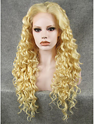 IMSTYLE 26''High Quality 613Blonde Long Curly Synthetic Wigs Lace Front High Heat Resistant Fiber