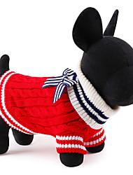 Gatos / Perros Suéteres Rojo / Azul Ropa para Perro Invierno / Primavera/Otoño Bloques Adorable / Navidad / Año Nuevo