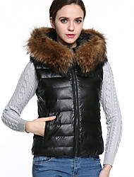 Women's Plus Size Street chic Fur CoatSolid Hooded Sleeveless Fall / Winter Black Faux Fur Thick Vest